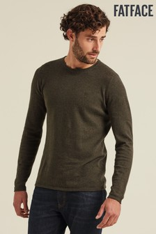 FatFace Green Cotton Cashmere Roll Crew