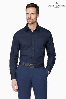 Jeff Banks Blue/Navy Tone Dobby Tailored Fit Casual Shirt