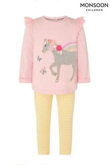 Monsoon Pink Baby Horse Sweatshirt And Leggings Set