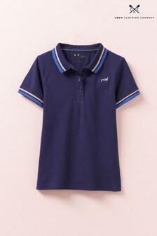 Crew Clothing Blue Classic Fit Pique Poloshirt