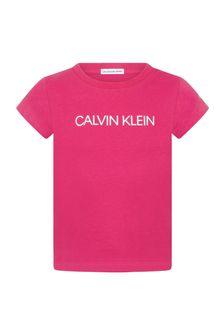Calvin Klein Jeans Girls Pink Cotton T-Shirt