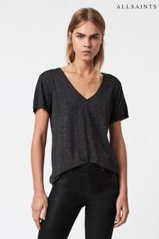 AllSaints Dark Grey Emelyn Shimmer T-Shirt