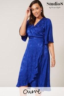 Studio 8 Blue Jazz Wrap Jacquard Dress