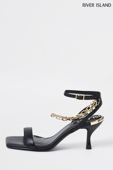 River Island Black Chain Ankle Barely There Sandals