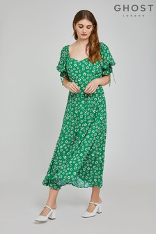 Ghost London Green Melina Dotty Flowers Print Crepe Dress