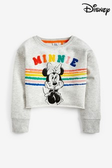 Minnie Mouse™ Rainbow Crop Crew Sweat Top (3-16yrs)
