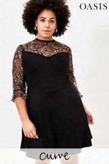 Oasis Curve Black Lace Skater Dress
