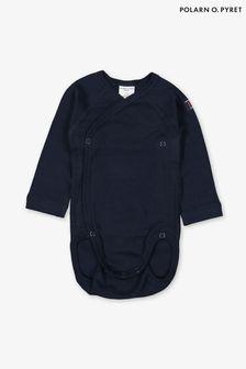 Polarn O. Pyret Blue GOTS Organic Wraparound Bodysuit
