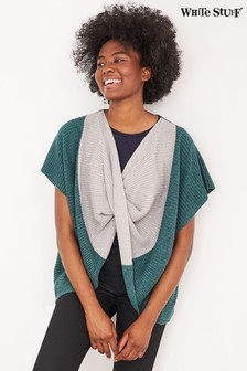 White Stuff Teal Colourblock Twist Poncho
