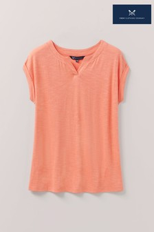 Crew Clothing Company Coral Notch Neck Roll Sleeve T-Shirt