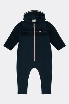 Baby Boys Navy Cotton Logo Romper