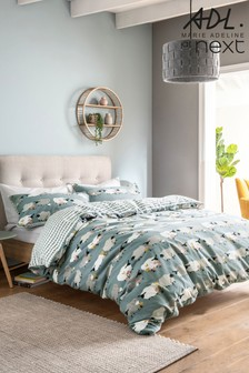 Marie Adeline at Next Navy 100% Brushed Cotton Woolly The Sheep Duvet Cover and Pillowcase Set