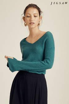 Jigsaw Green Cloud 7 Cashmere V-Neck Jumper