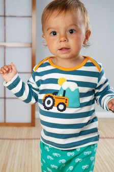 Frugi GOTS Organic Long Sleeve Top With Tractor Appliqué
