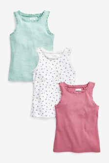 3 Pack Pretty Lace Detail Vests (3-16yrs)