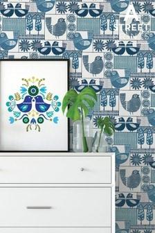 A Street Blue Partridge Wallpaper