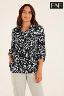 F&F Black Smudge Print Shirt