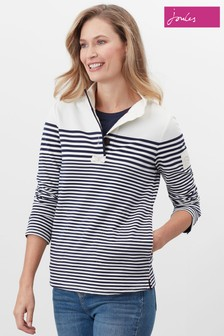 Joules Blue Saunton Exposed Placket Sweatshirt With Binding