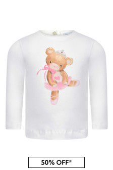 Baby Girls Ivory Cotton Jersey Long Sleeve Teddy T-Shirt