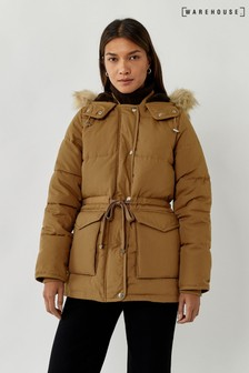 Warehouse Tan Short Drawstring Padded Coat