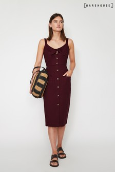 Warehouse Red Tie Front Button Midi Dress