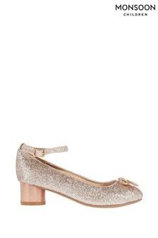 Monsoon Metallic Mika Rose Gold Glitter Diamanté Bow Heels
