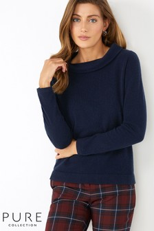 Pure Collection Blue Cashmere Bardot Sweater