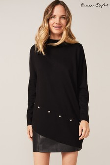 Phase Eight Black Harrio Asymmetric Hem Knit