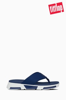 FitFlop™ Blue Sporty Logo Toe Thong Sandals