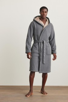Borg Lined Hooded Dressing Gown