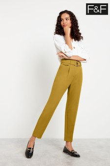 F&F Yellow Belted Tapered Trousers