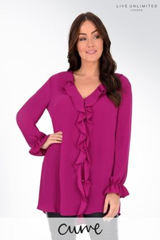 Live Unlimited Curve Purple Frill Detail Blouse