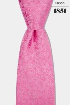 Moss 1851 Pink Floral Swirl Tie