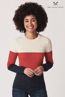 Crew Clothing Company White Stripe Heritage Cable Crew Neck Jumper
