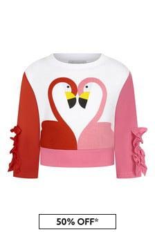 Stella McCartney Kids Girls White Cotton Sweater