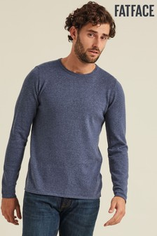 FatFace Blue Cotton Cashmere Roll Crew