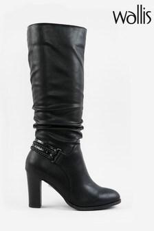 Wallis Wild Black Strap Detail High Leg Boots