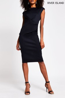 River Island Black Ruffle Front Bcon Midi Dress