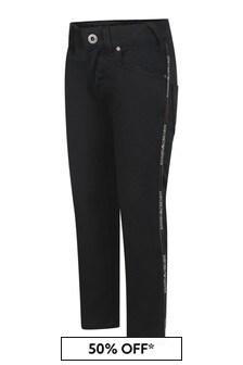 Boys Black Cotton Logo Trousers