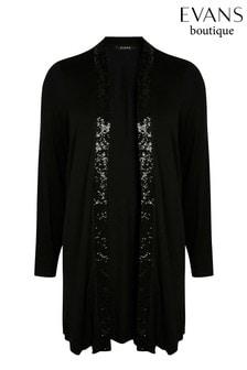 Evans Curve Black Sequin Jersey Cardigan
