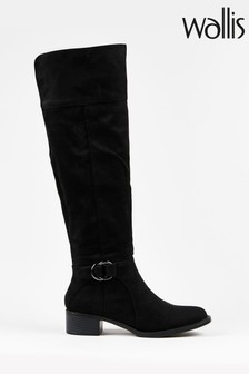 Wallis Hamlet Black D Ring High Leg Boots