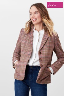 Joules Pink Highcombe Single Breast Tweed Jacket