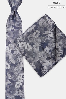 Moss London Navy & Silver Tonal Flower Tie & Pocket Square Set