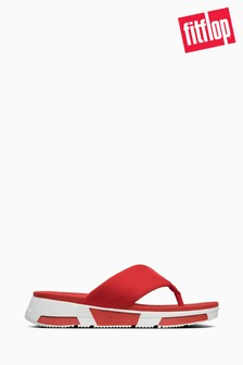 FitFlop™ Red Sporty Logo Toe Thong Sandals