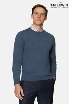 T.M. Lewin Romney Denim Crew Neck Merino Wool Jumper