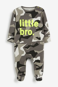 Camouflage Neon Little Bro Sleepsuit (0-18mths)