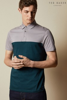 Ted Baker Purple Loop Short Sleeved Blocked Colour Polo