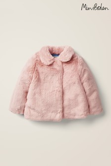 Boden Pink Faux Fur Coat