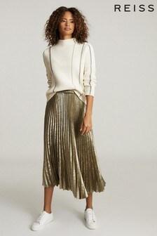 Reiss Gold Gemma Metallic Pleated Midi Skirt