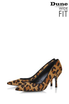 Dune London Wide Fit Dark Leopard Leather Mid Heel Courts